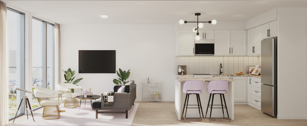 Rendering of NUVO Condos suite living and kitchen area.