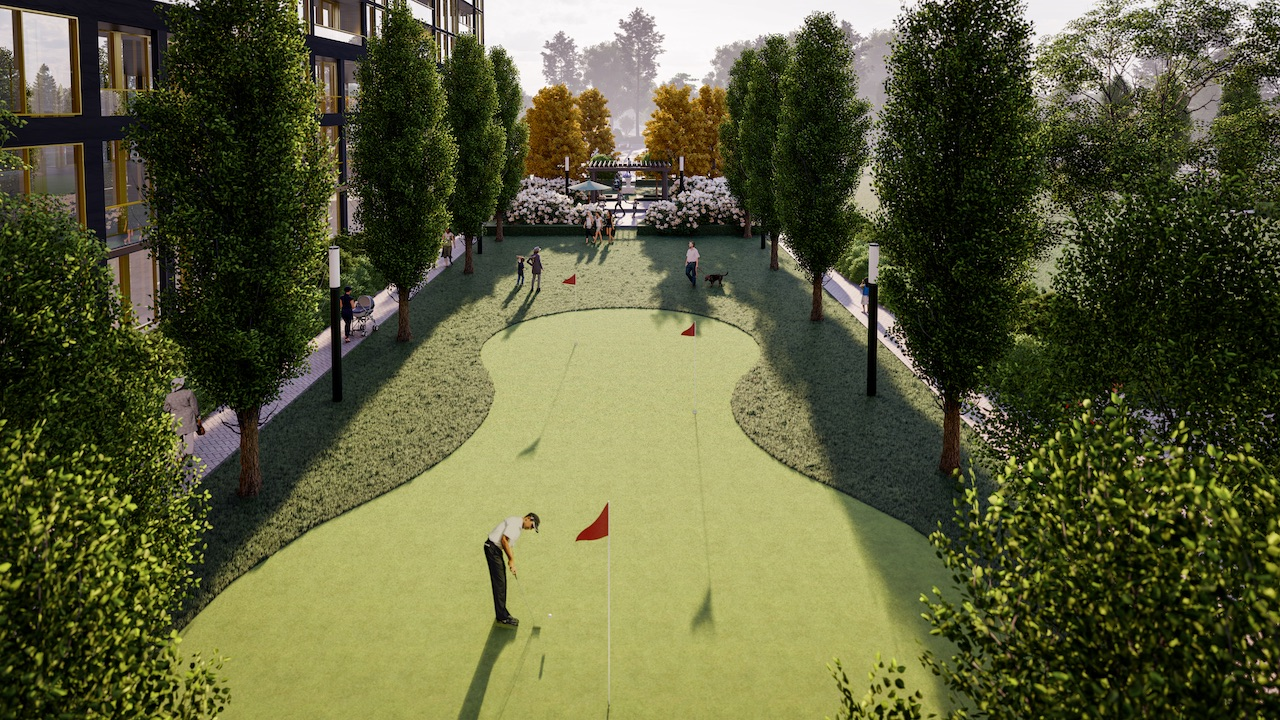 Rendering of NUVO Condos outdoor putting green.
