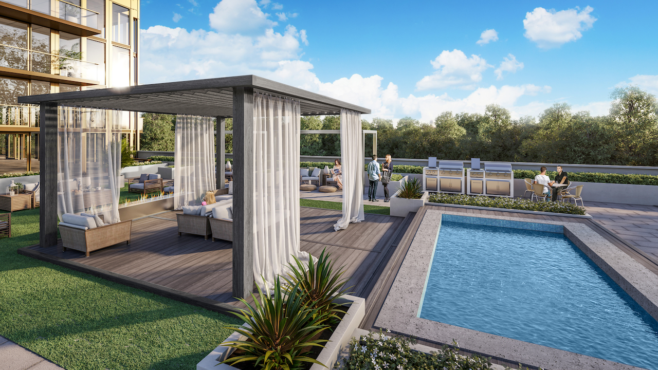 Rendering of NUVO Condos rooftop terrace with swimming pool.