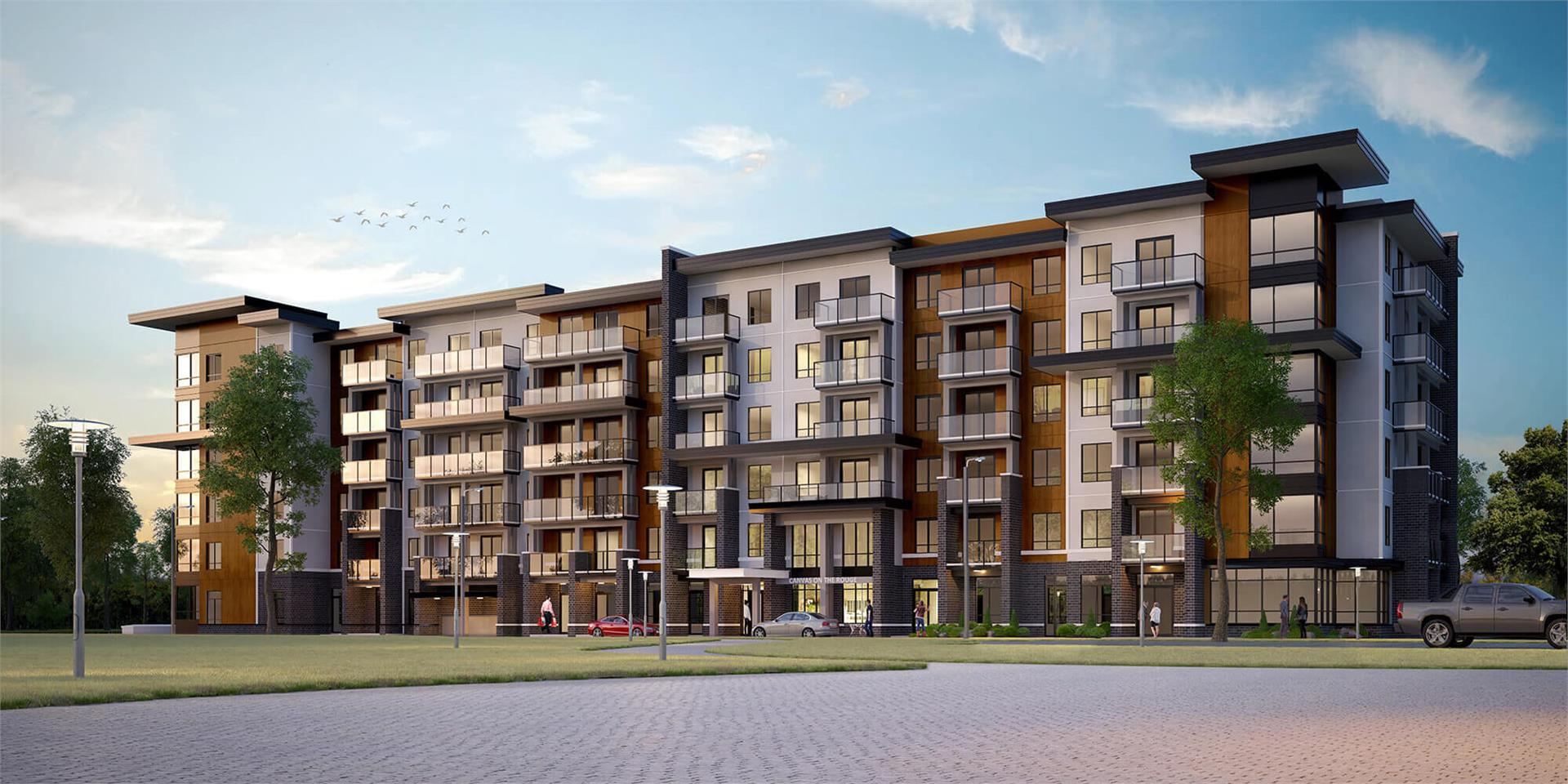 Rendering of Canvas on the Rouge Condos exterior with driveway.