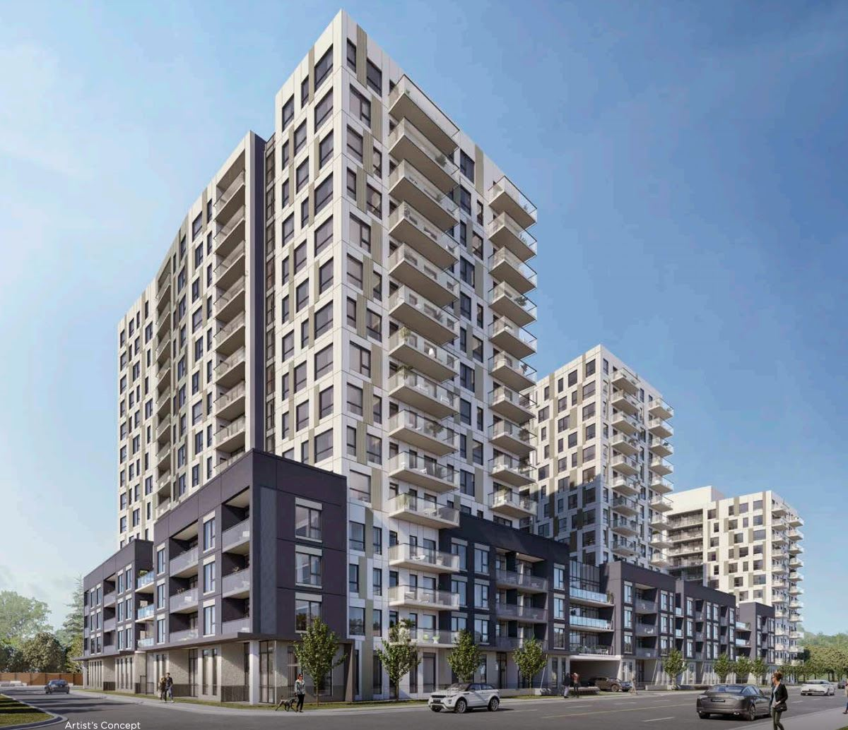 Exterior rendering of Elevate Condos in Kitchener, ON.