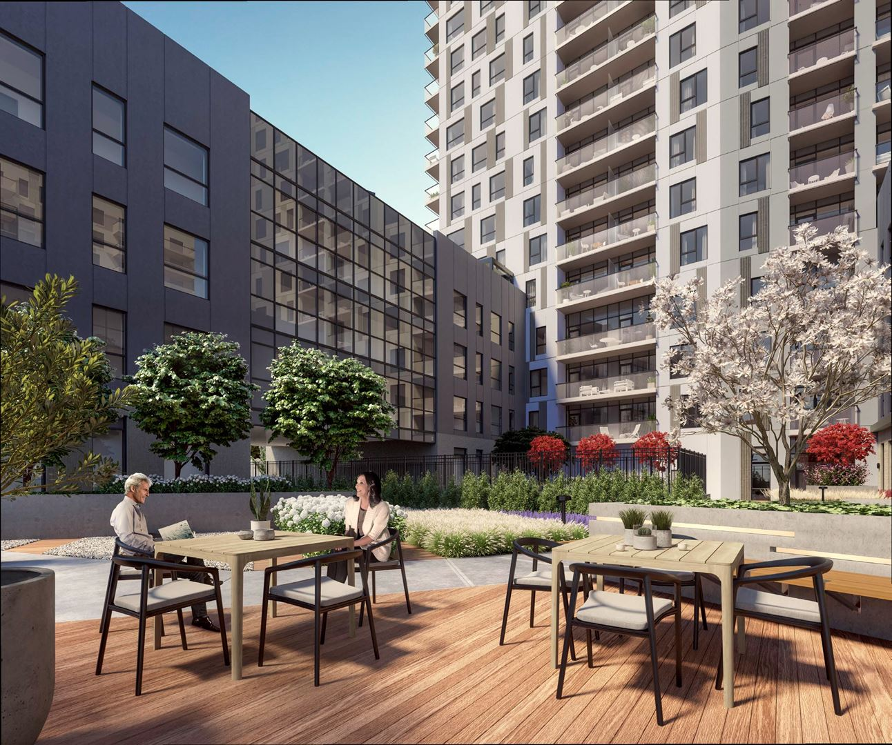 Rendering of Elevate Condos outdoor patio space.