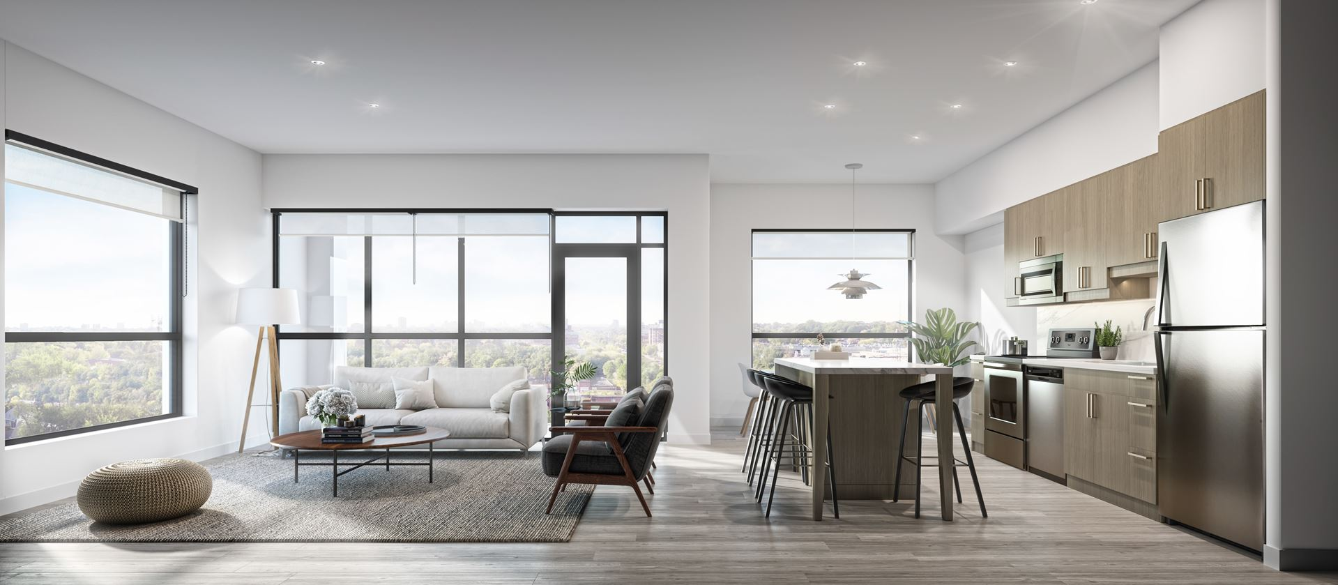Rendering of Elevate Condos suite interior living and kitchen open-concept.