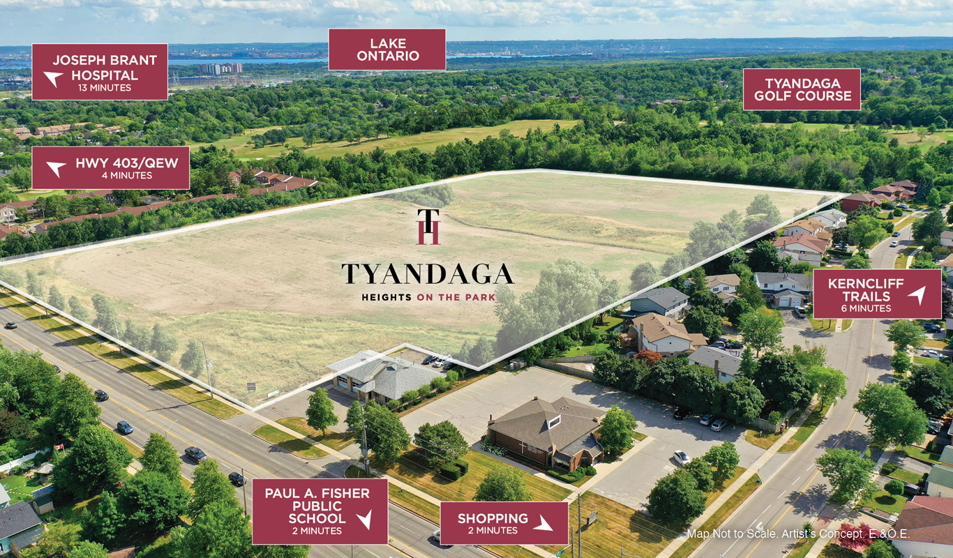 Area map of of Tyandaga Heights on the Park in Burlington.