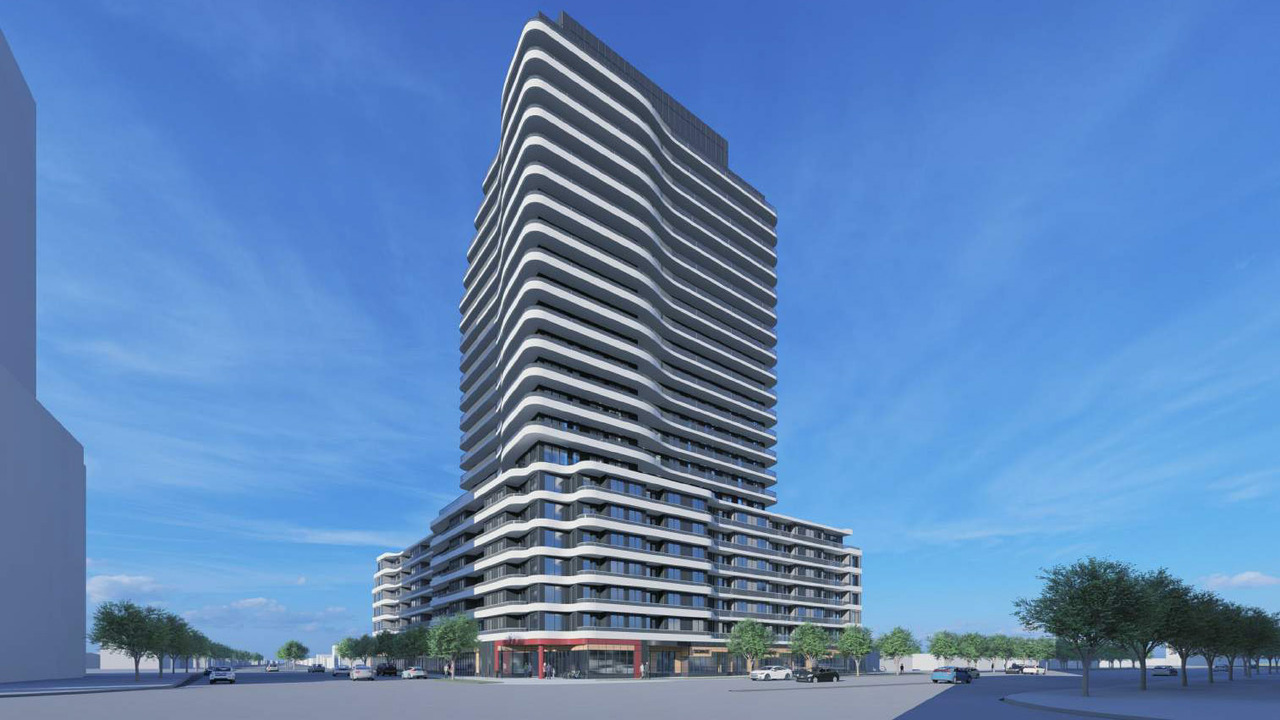 Rendering of 2993 Sheppard East Condos full exterior.