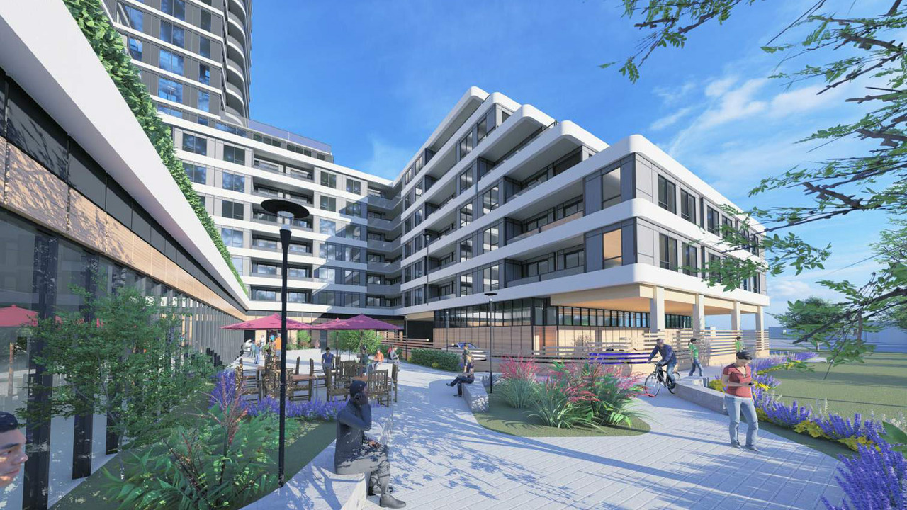 Rendering of 2993 Sheppard East Condos retail at ground-level.