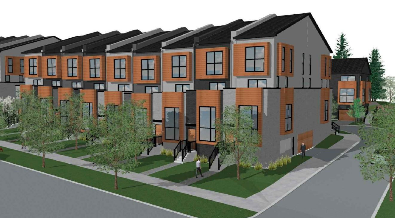 Exterior rendering of 448 Markham Road Towns with front steps.