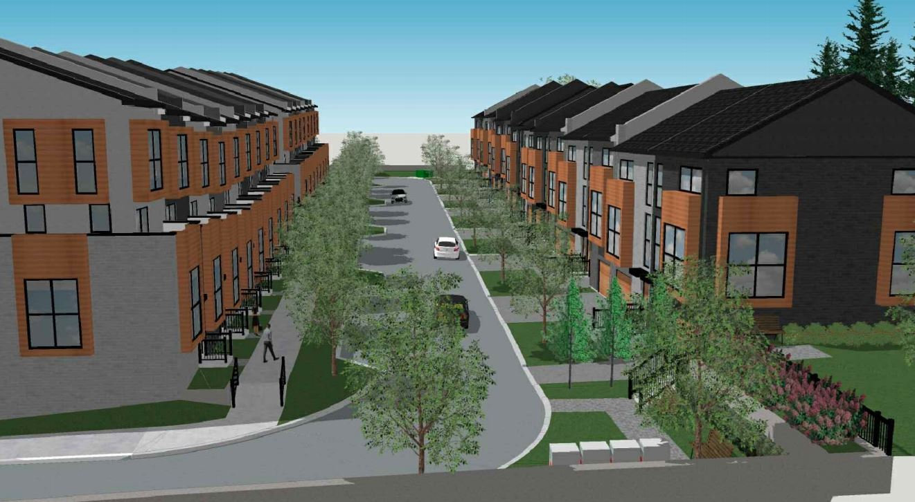 Exterior rendering of 448 Markham Road Towns neighbourhood.