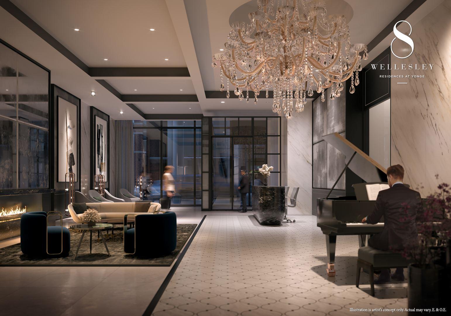 Rendering of 8 Wellesley Residences lobby