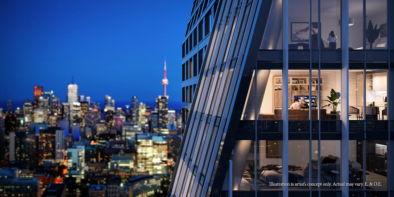 Exterior rendering of 8 Wellesley Residences view of different suites