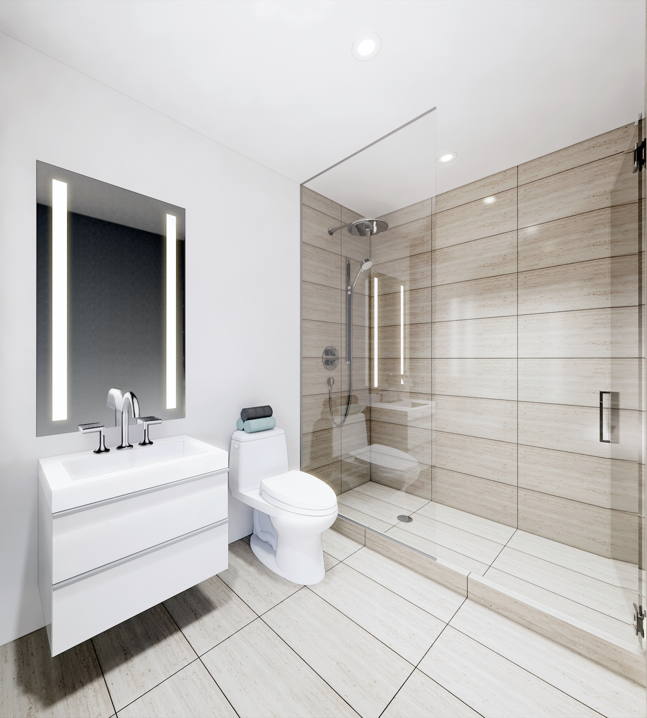 Rendering of Grand Bell Condos suite bathroom.