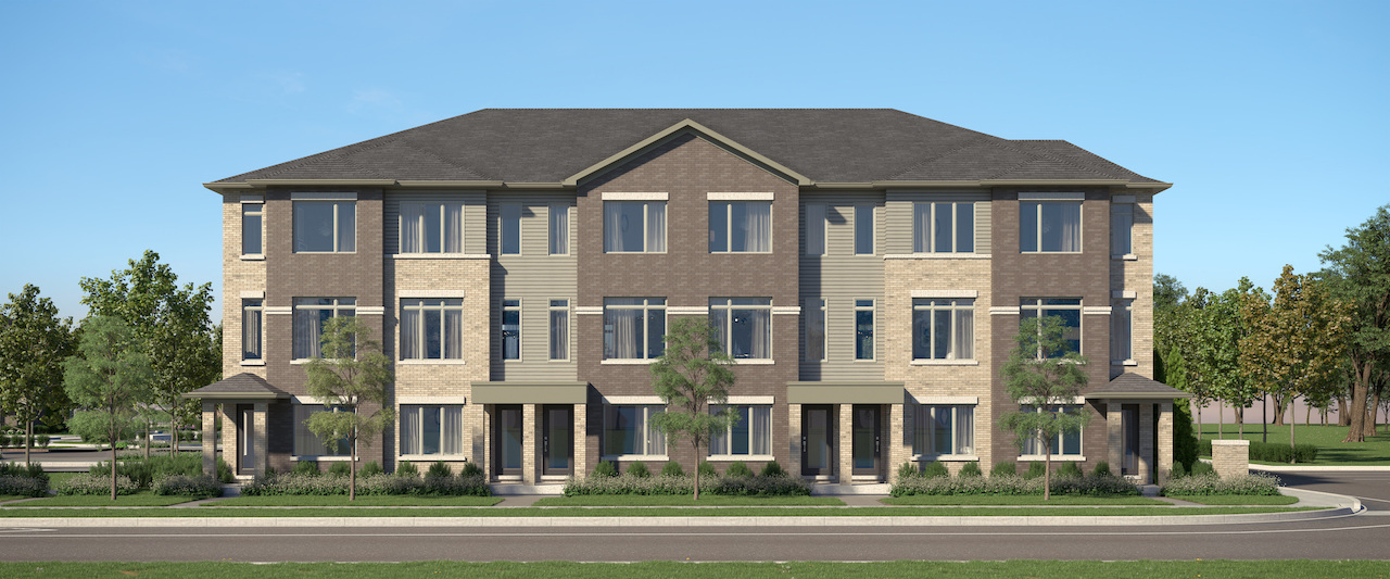 Rendering of Cachet ParQ Towns rear lane front exterior.