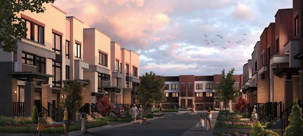 Greenhill Towns rendering exterior at night