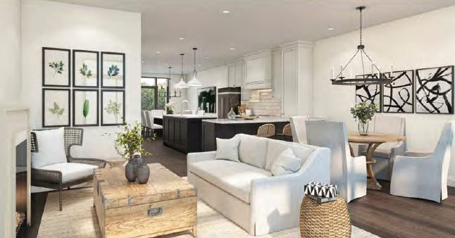 Greenhill Towns rendering interior living room.