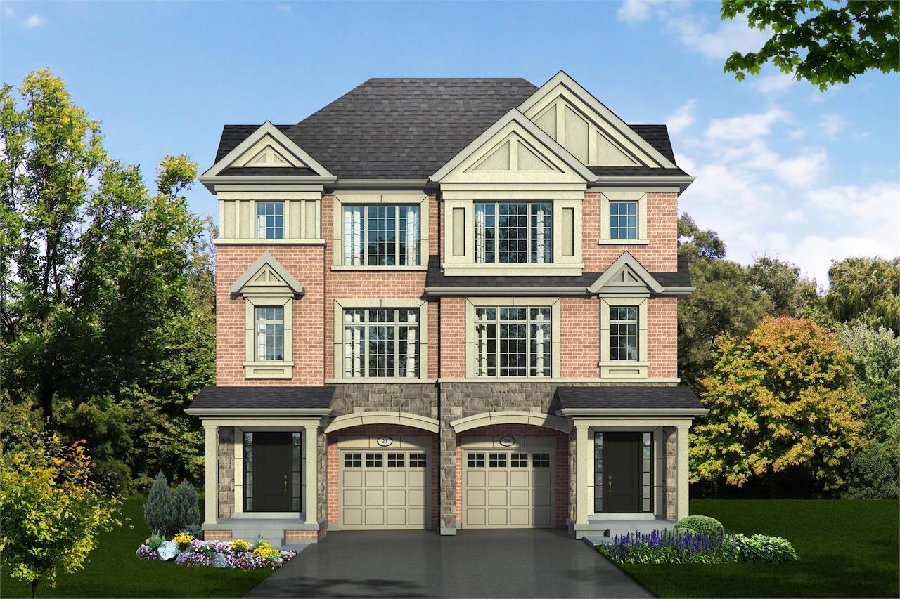 Exterior rendering of Hilltop Semi-detached home at Old Harwood in Ajax.