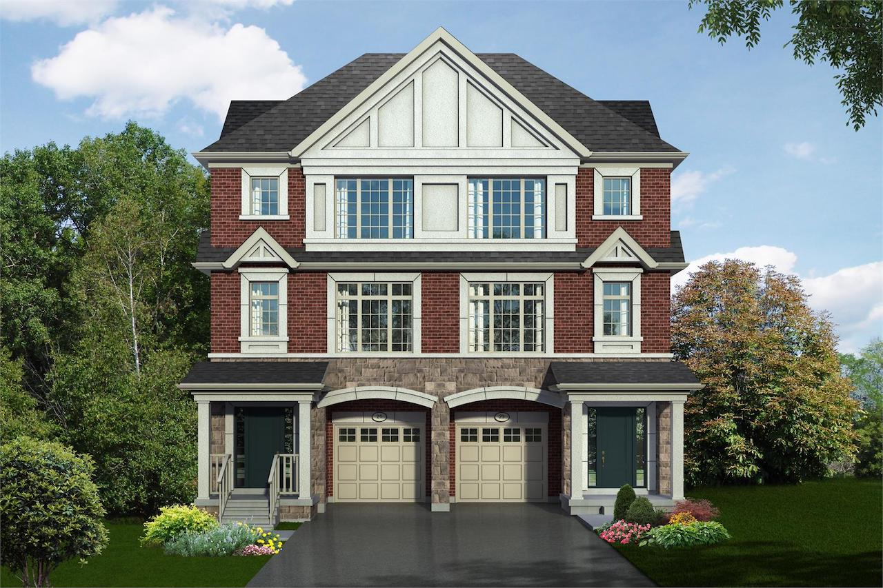 Exterior rendering of Hilltop Semi-detached home at Old Harwood in Ajax front-view.
