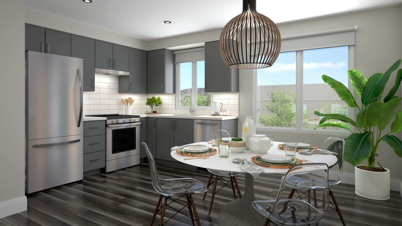 Rendering of the Roxboro towns interior kitchen.
