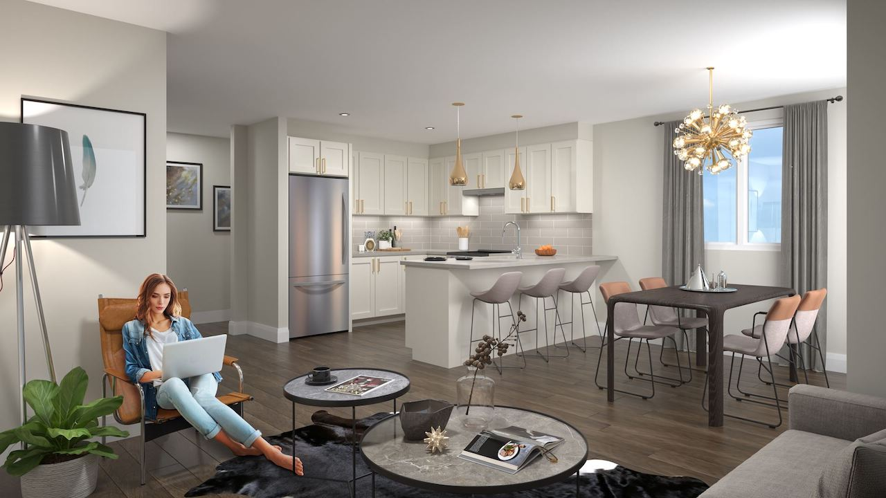 Rendering of the Roxboro towns interior open-concept living.