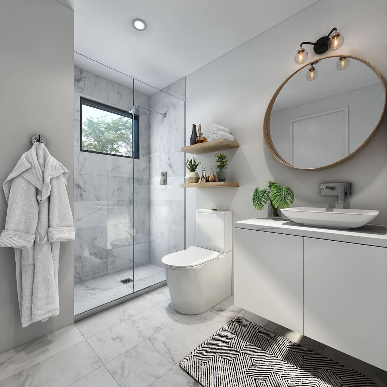 Interior rendering of The Boho Condos suite bathroom.