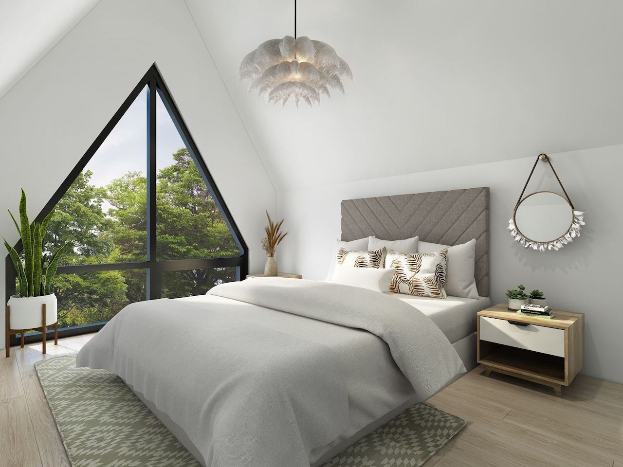 Interior rendering of The Boho Condos suite bedroom.
