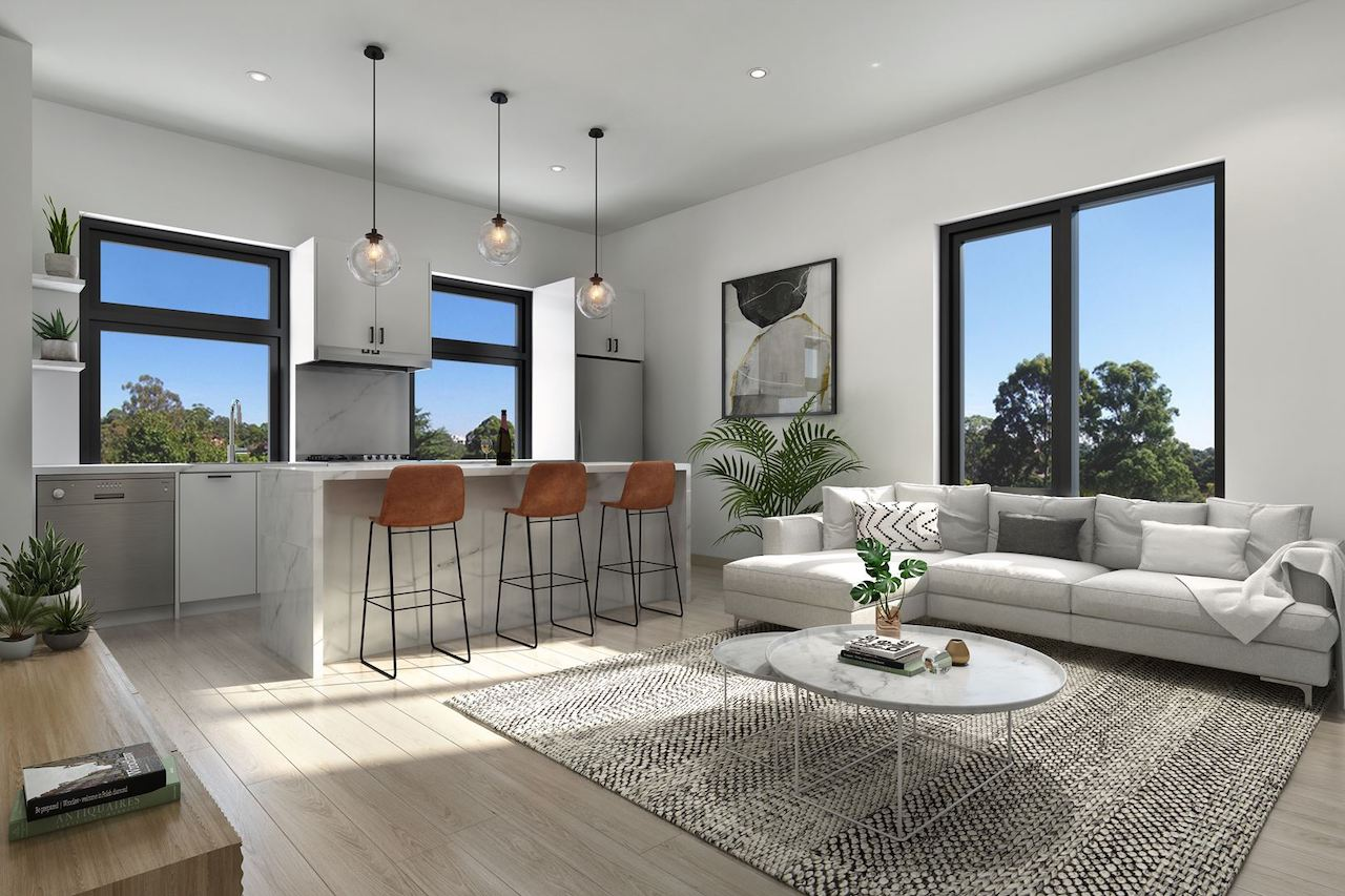 Interior rendering of The Boho Condos suite living area with kitchen.