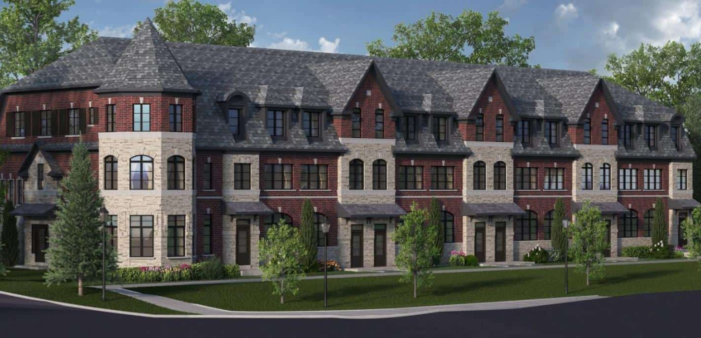 Exterior rendering of Tyandaga Heights on the Park Townhomes.