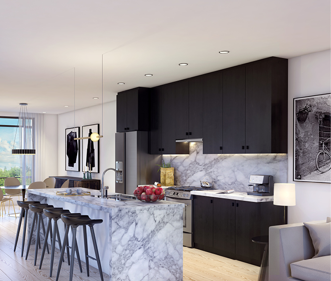 Rendering of Tyandaga Heights on the Park suite interior kitchen.