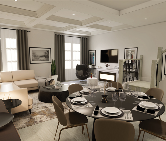 Rendering of Tyandaga Heights on the Park suite interior open-concept living room.