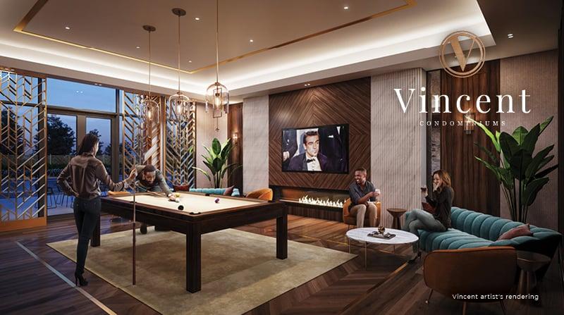Rendering of Vincent Condos billiards room