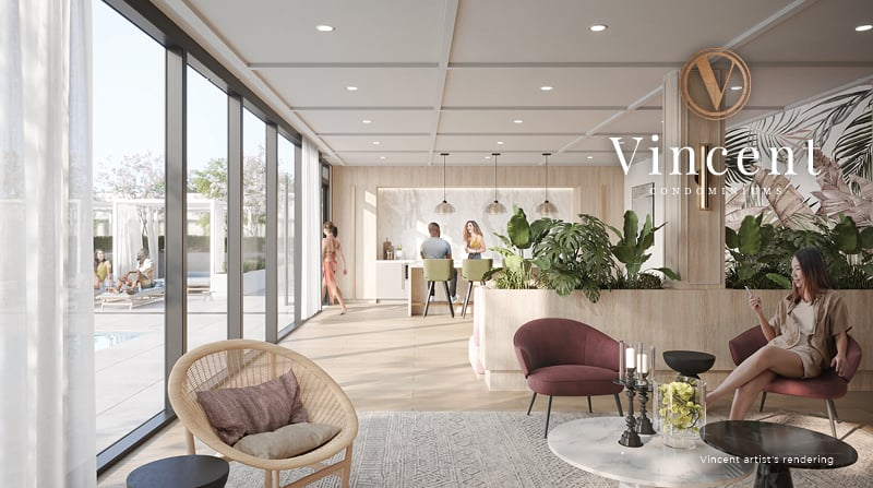 Rendering of Vincent Condos party room lounge
