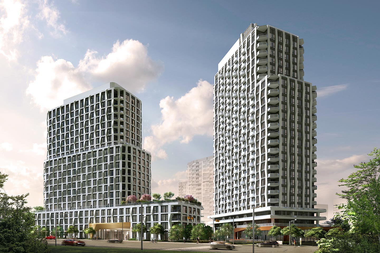 Exterior rendering of Westerly Condos in Etobicoke.