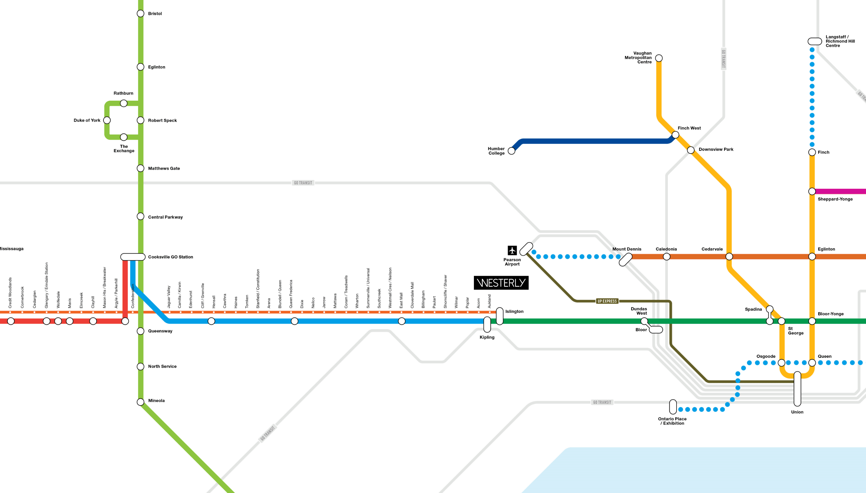 Westerly Condos Transit Map for new BRT Line in Etobicoke, Toronto.