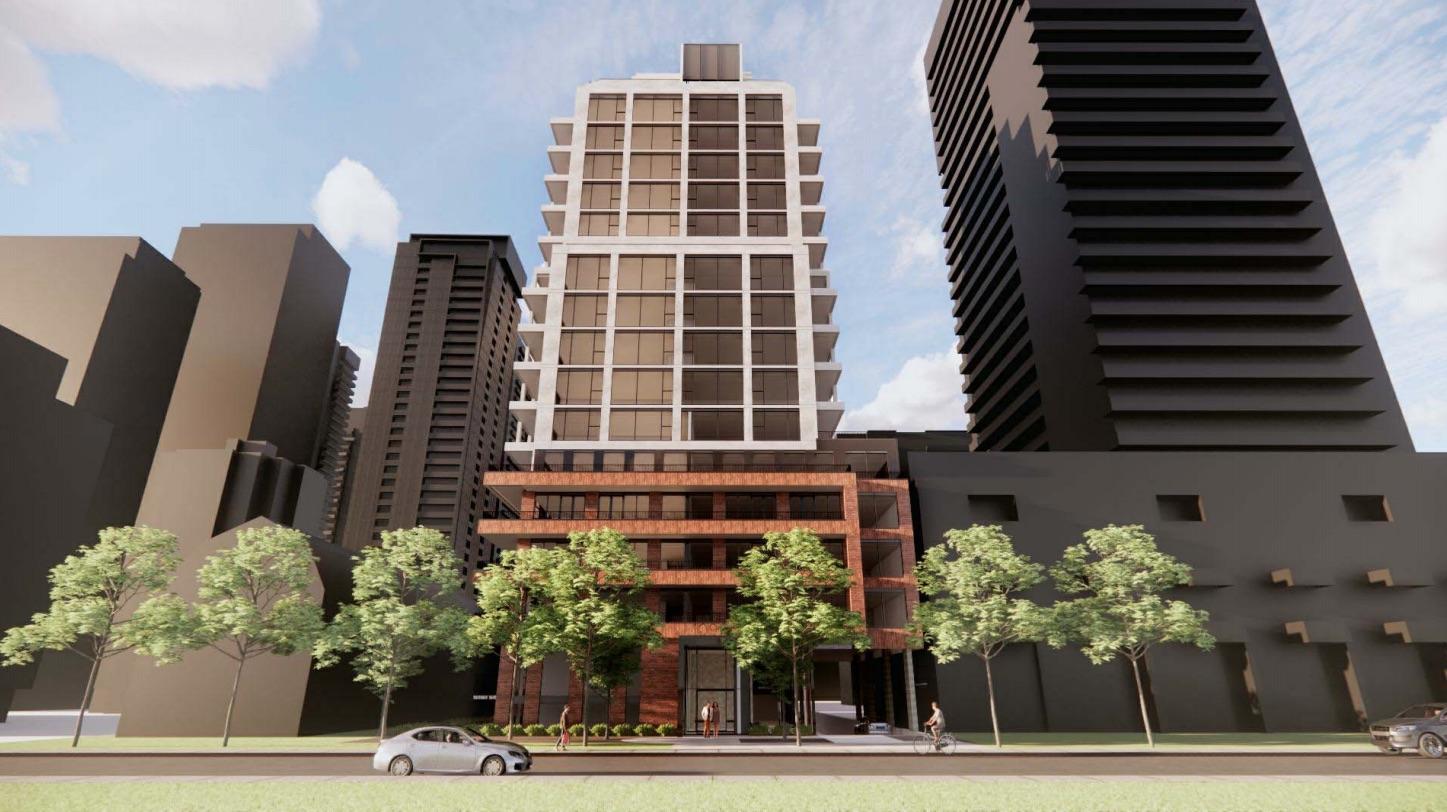 Exterior rendering of 109 Erskine Condos in Toronto.