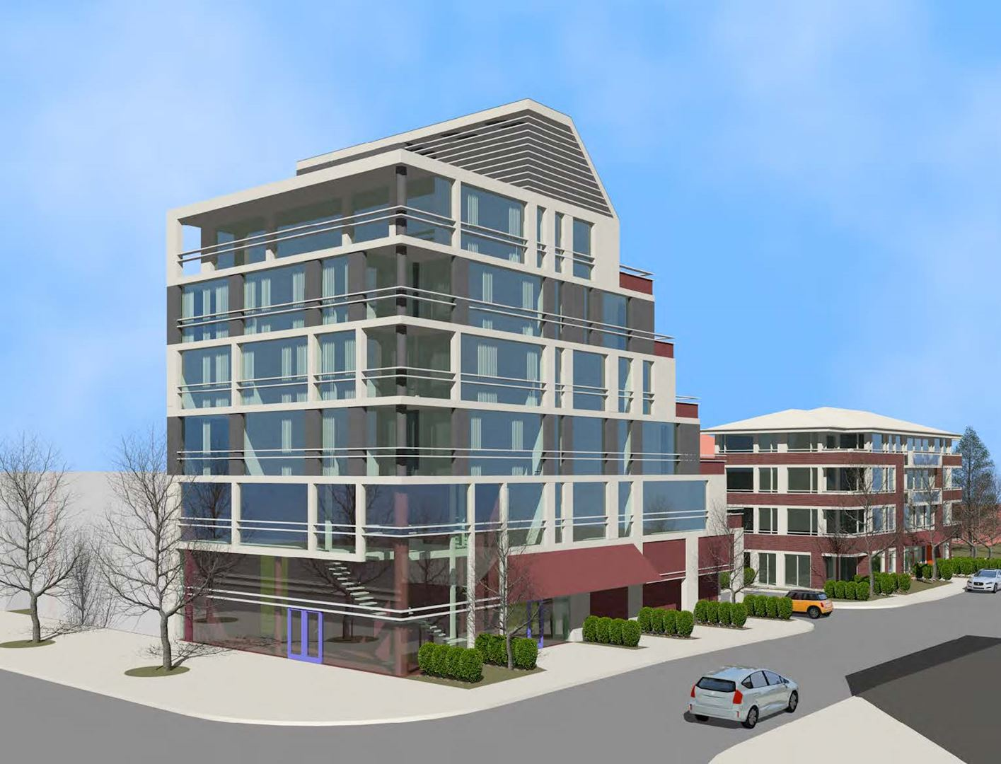 Exterior rendering of 3471 Lake Shore Boulevard West Condos in Etobicoke.