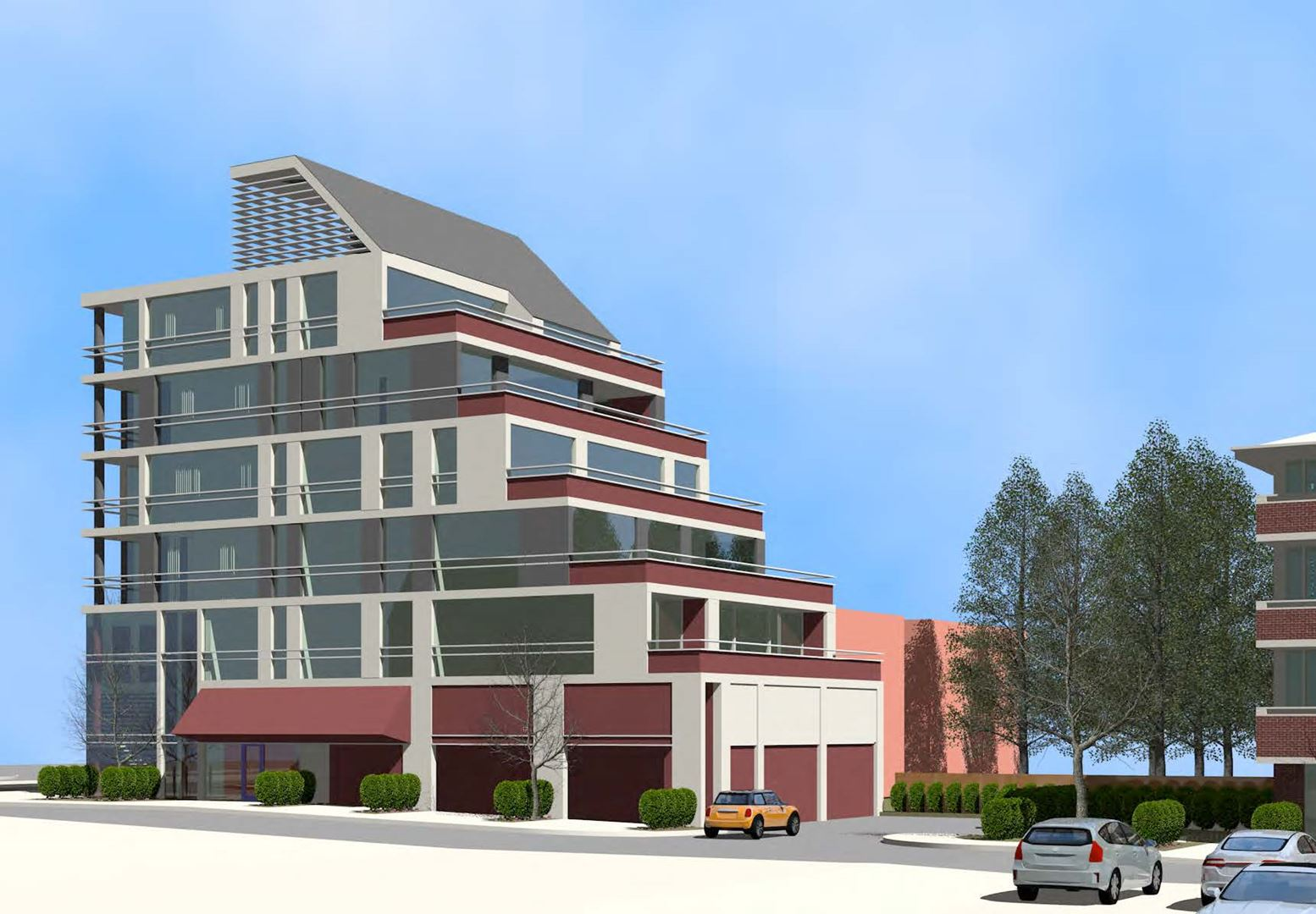 Exterior side-view rendering of 3471 Lake Shore Boulevard West Condos in Etobicoke.
