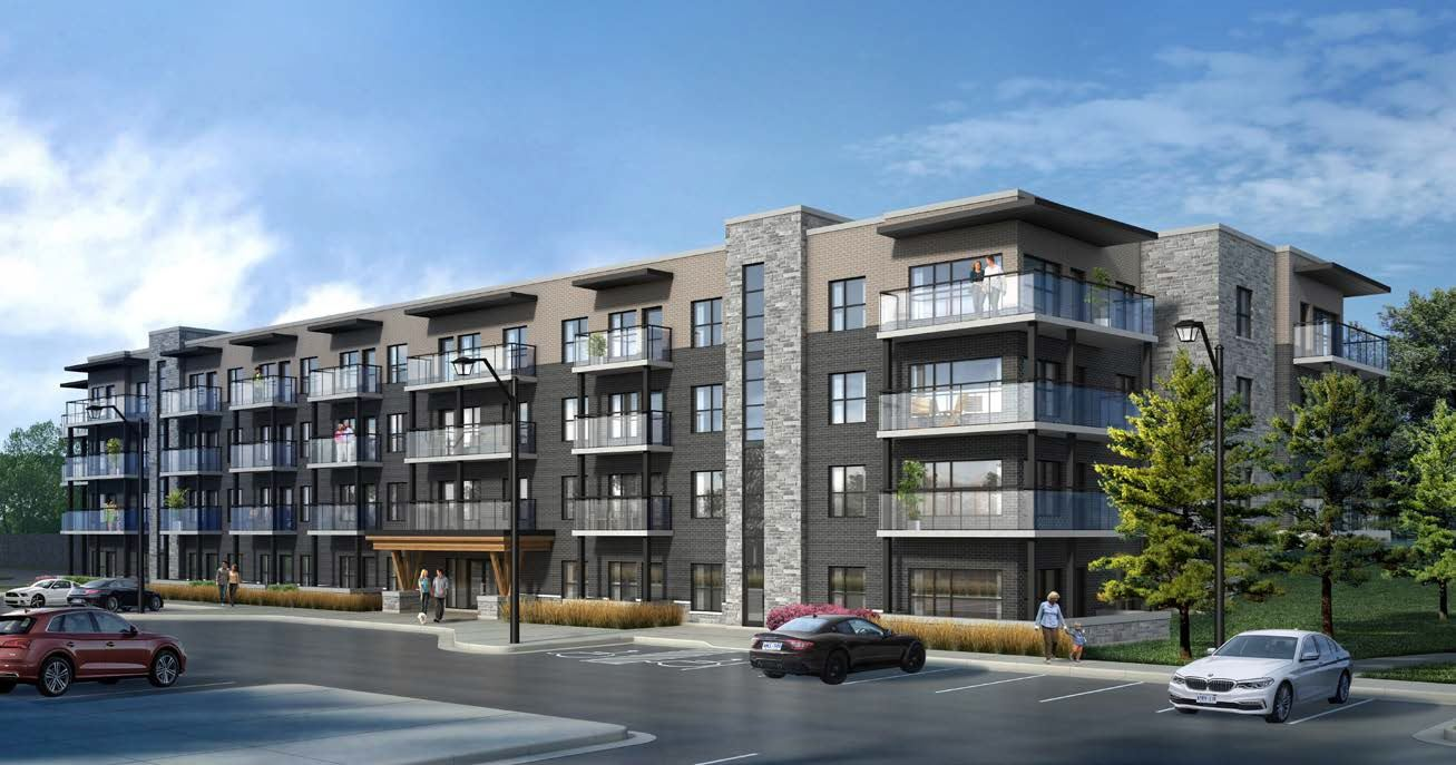 Exterior rendering of Lackner Ridge Condos during the day.
