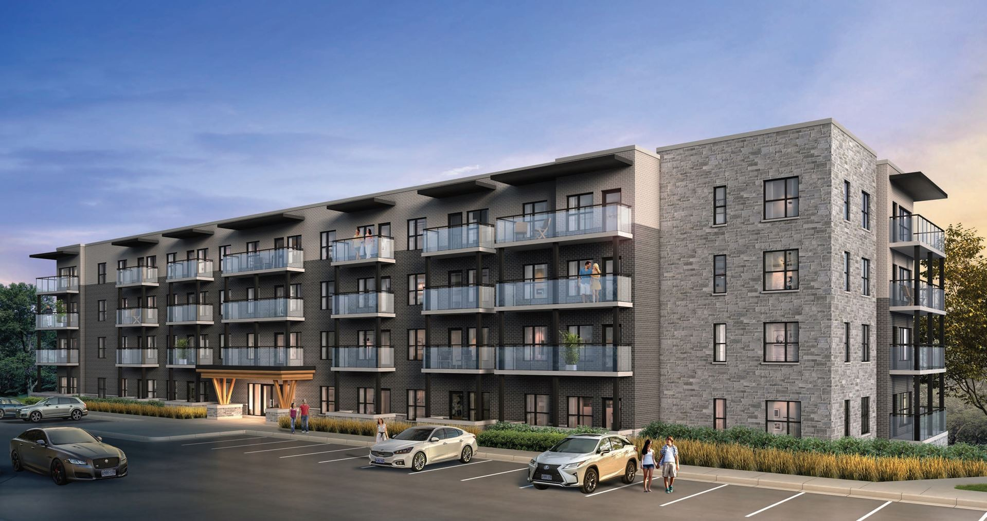 Exterior rendering of Lackner Ridge Condos in the evening.