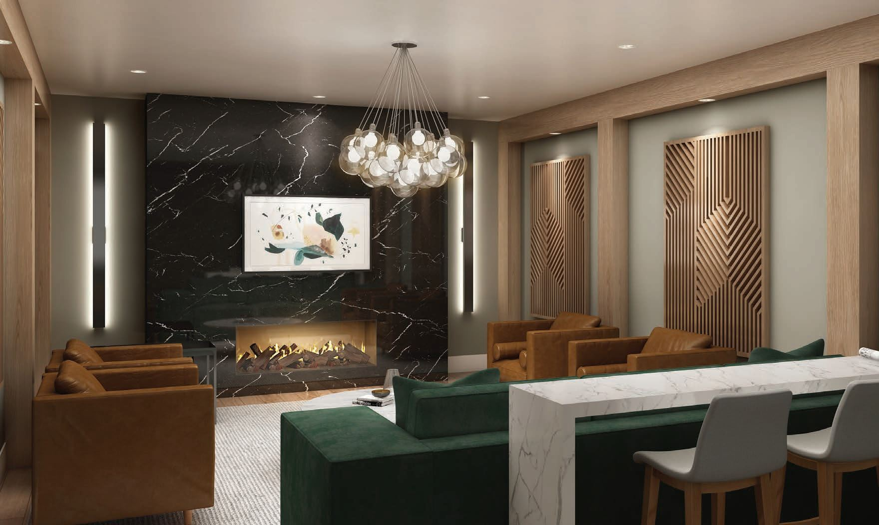 Rendering of Lackner Ridge Condos lounge.