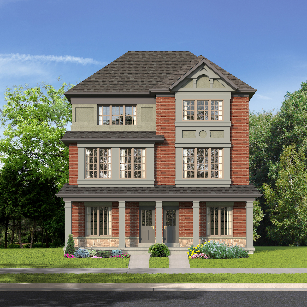 Exterior rendering of The Village at Highland Creek Semis 11-12