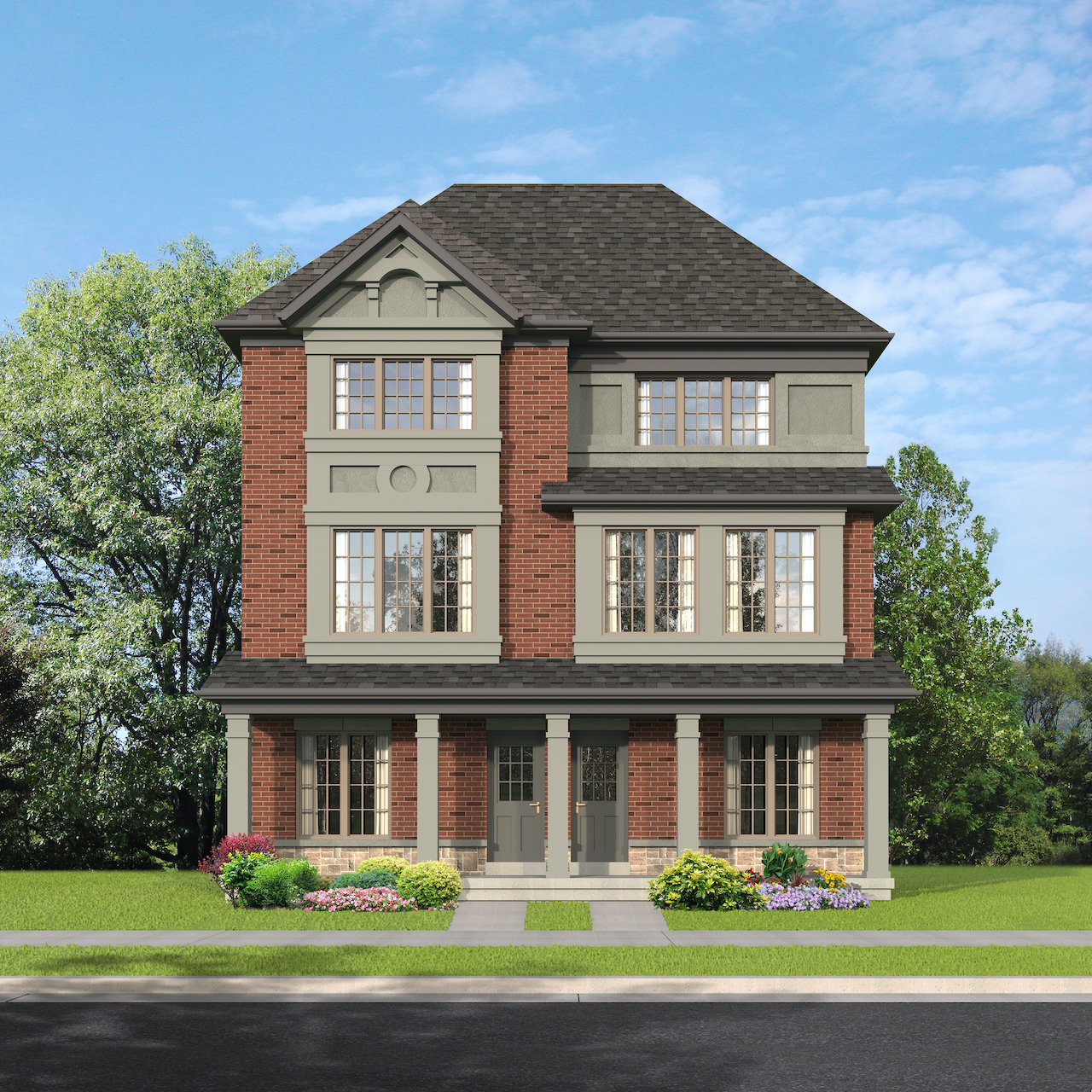 Exterior rendering of The Village at Highland Creek Semis 15-16