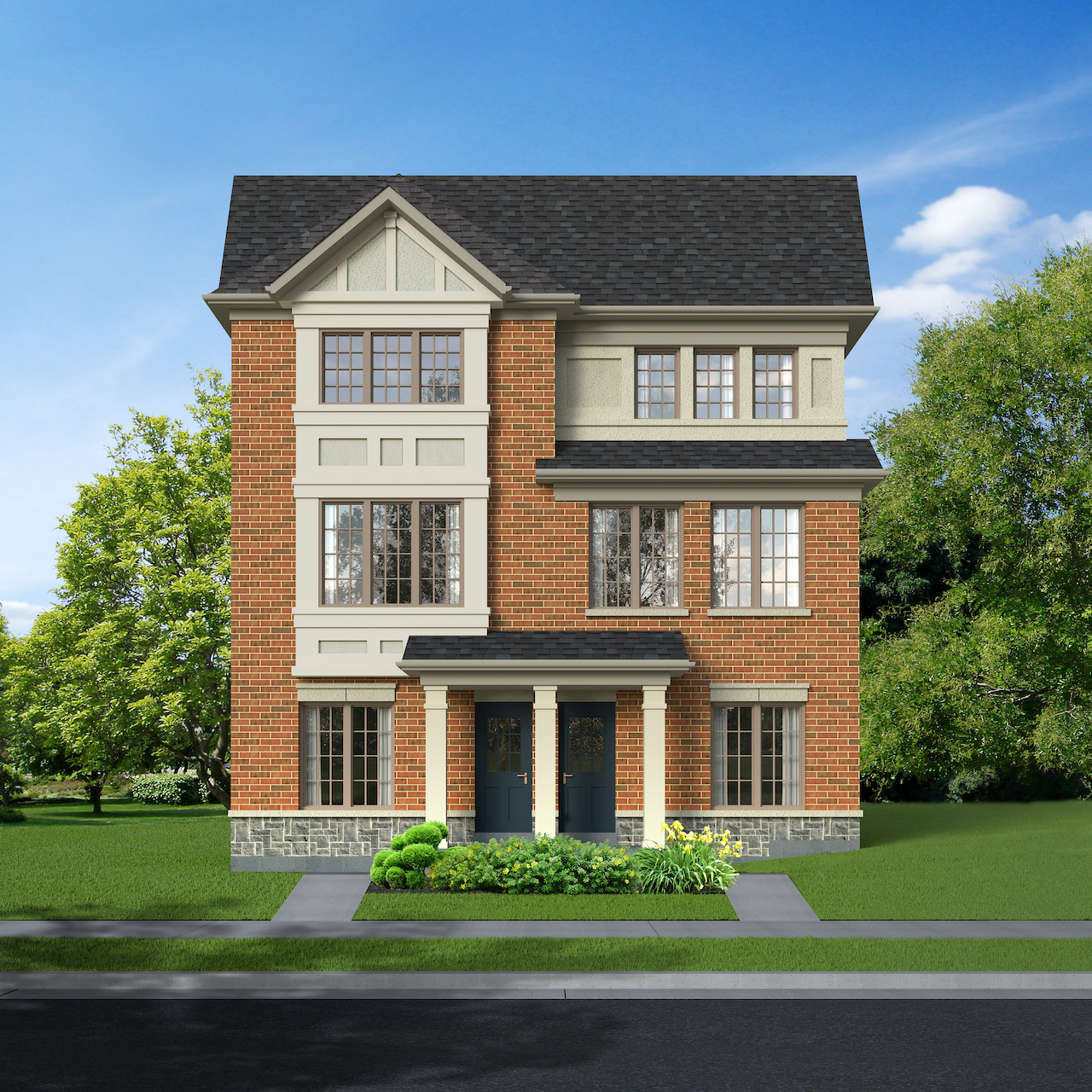 Exterior rendering of The Village at Highland Creek Semis 17-18