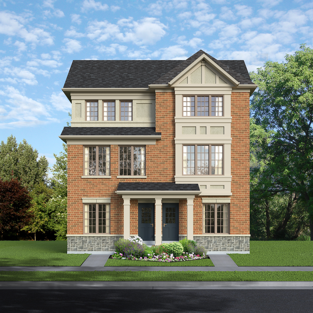 Exterior rendering of The Village at Highland Creek Semis 9-10