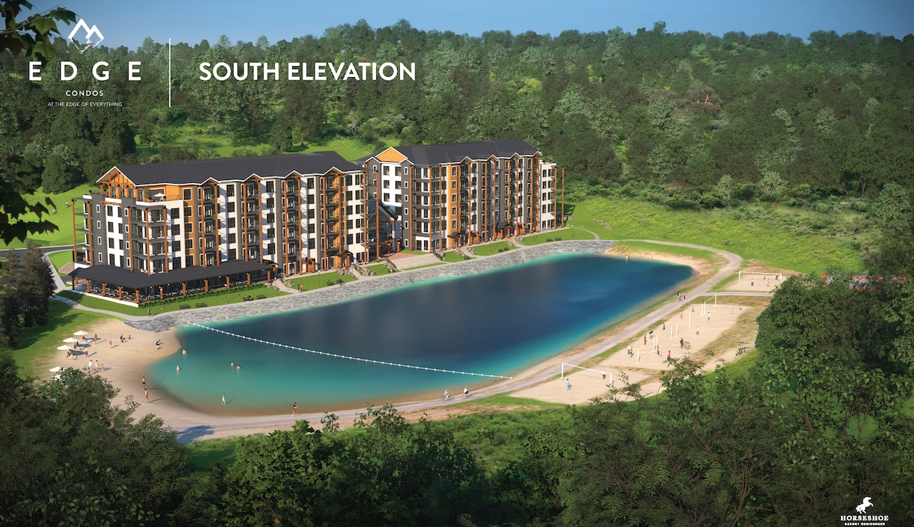 Rendering of Edge Condos At Horseshoe south elevation summer.