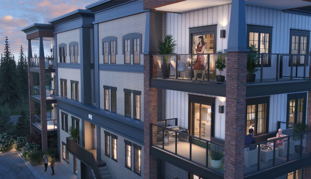 Rendering of The Brix Condos exterior balcony