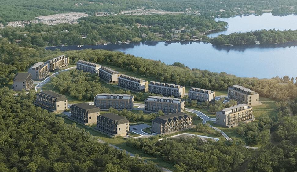 Aerial rendering of The Summit Towns development in Hunstville, Muskoka.