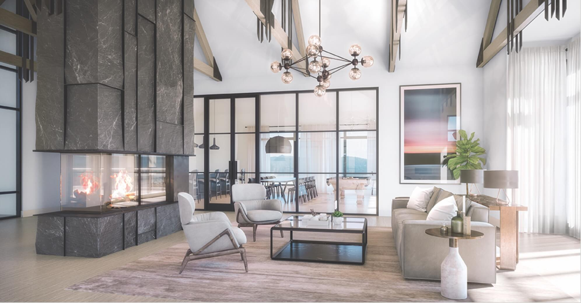 Rendering of The Summit Towns lounge with fireplace.