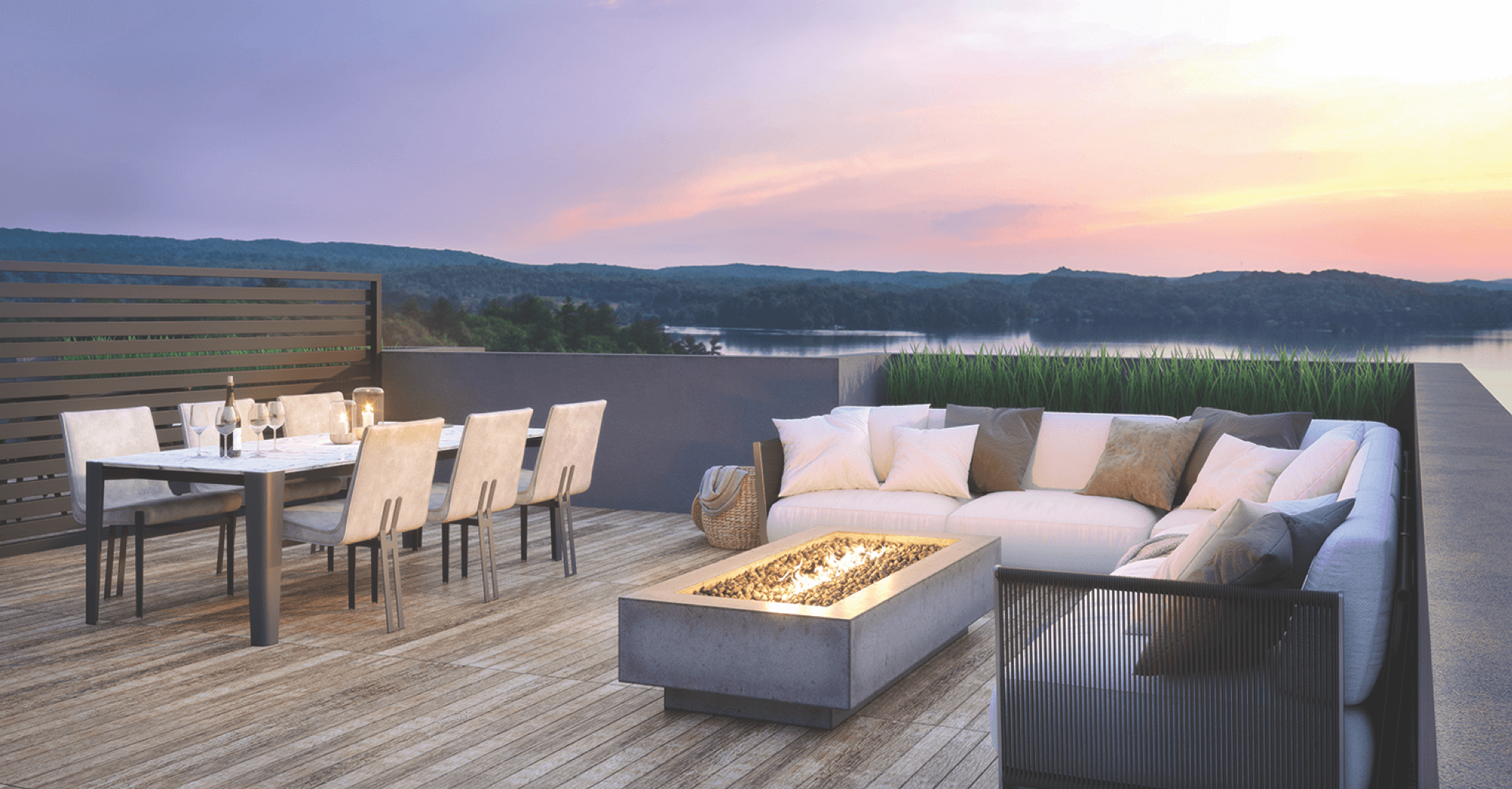 Exterior rendering of The Summit Towns rooftop terrace.