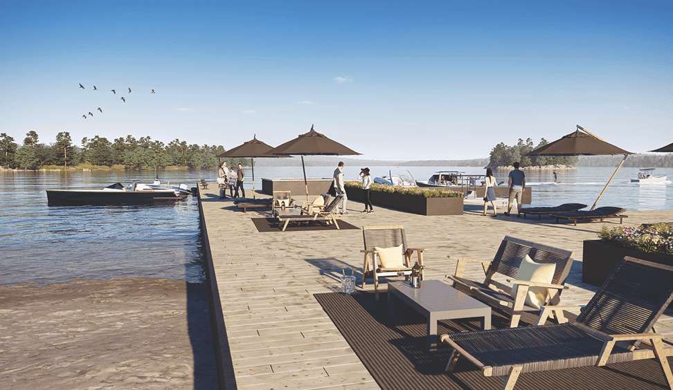 Exterior rendering of The Summit Towns waterfront dock.