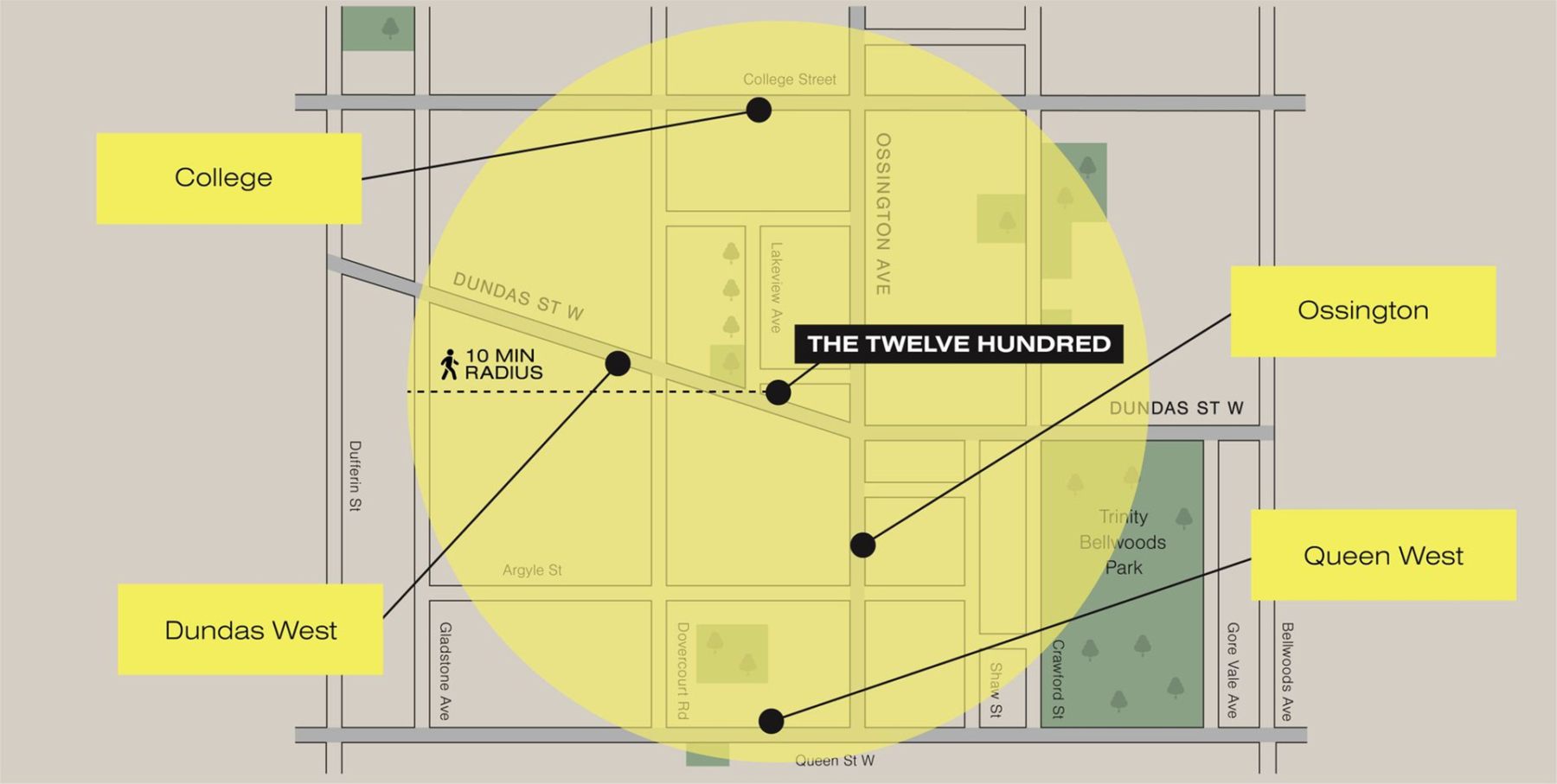 Map of The Twelve Hundred Condos in Toronto