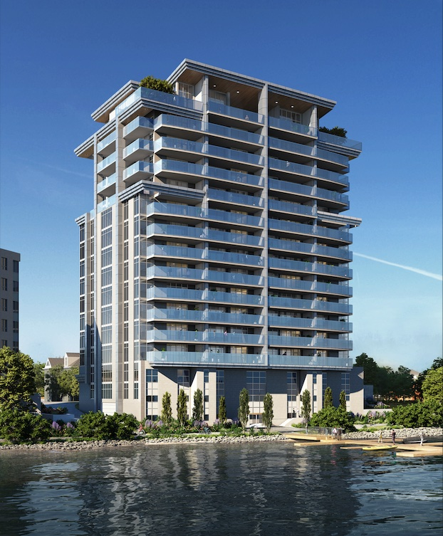 Exterior rendering of 217 Dunlop Condos on Lake Simcoe